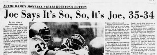 The headline for Notre Dame's victory in the Jan. 2, 1979, Indianapolis Star.