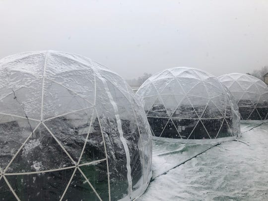 The igloos at Urban Vines fit up to eight people, have a heater, music and lights.
