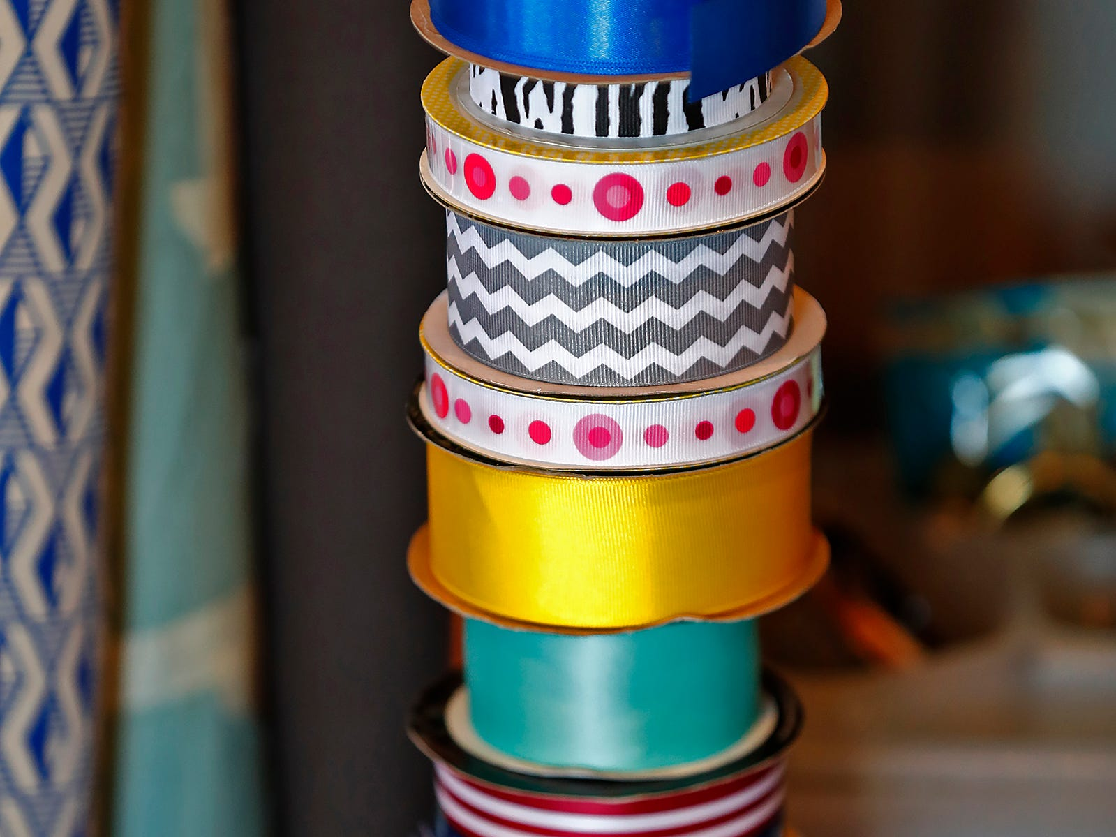 Ribbons are seen for sale at ReCraft, Tuesday, Dec. 11, 2018.  Many of the store's items are donated or ready for re-use. ReCraft was born out of Bethany Daugherty's love of crafting and her interest in environmental activism.  At the secondhand craft and hobby store, Daugherty also teaches workshops.  Sustainability and environmentalism are the focus of the store.