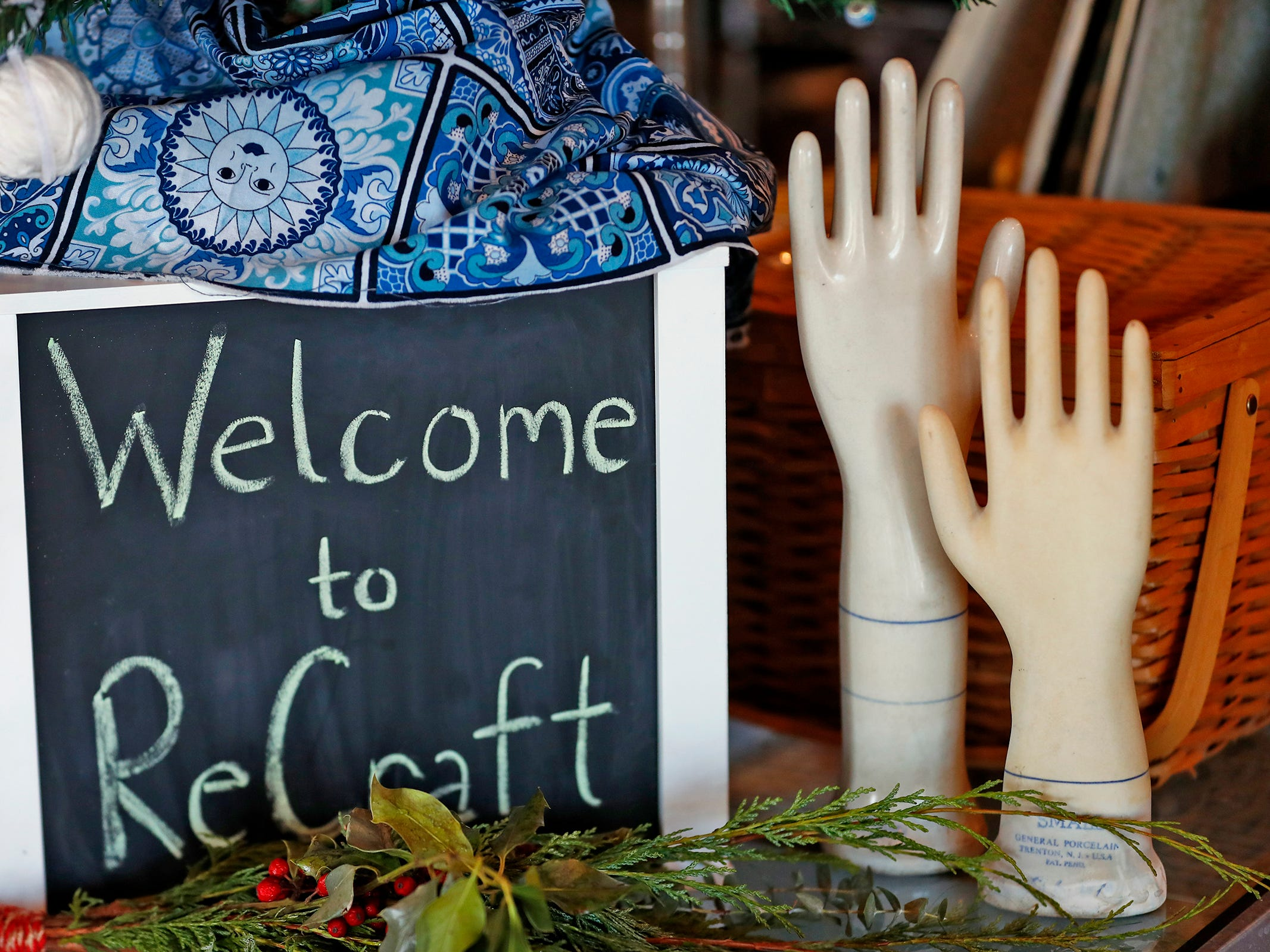 Mannequin hands are seen for sale at ReCraft, Tuesday, Dec. 11, 2018.  Many of the store's items are donated or ready for re-use. ReCraft was born out of Bethany Daugherty's love of crafting and her interest in environmental activism.  At the secondhand craft and hobby store, Daugherty also teaches workshops.  Sustainability and environmentalism are the focus of the store.