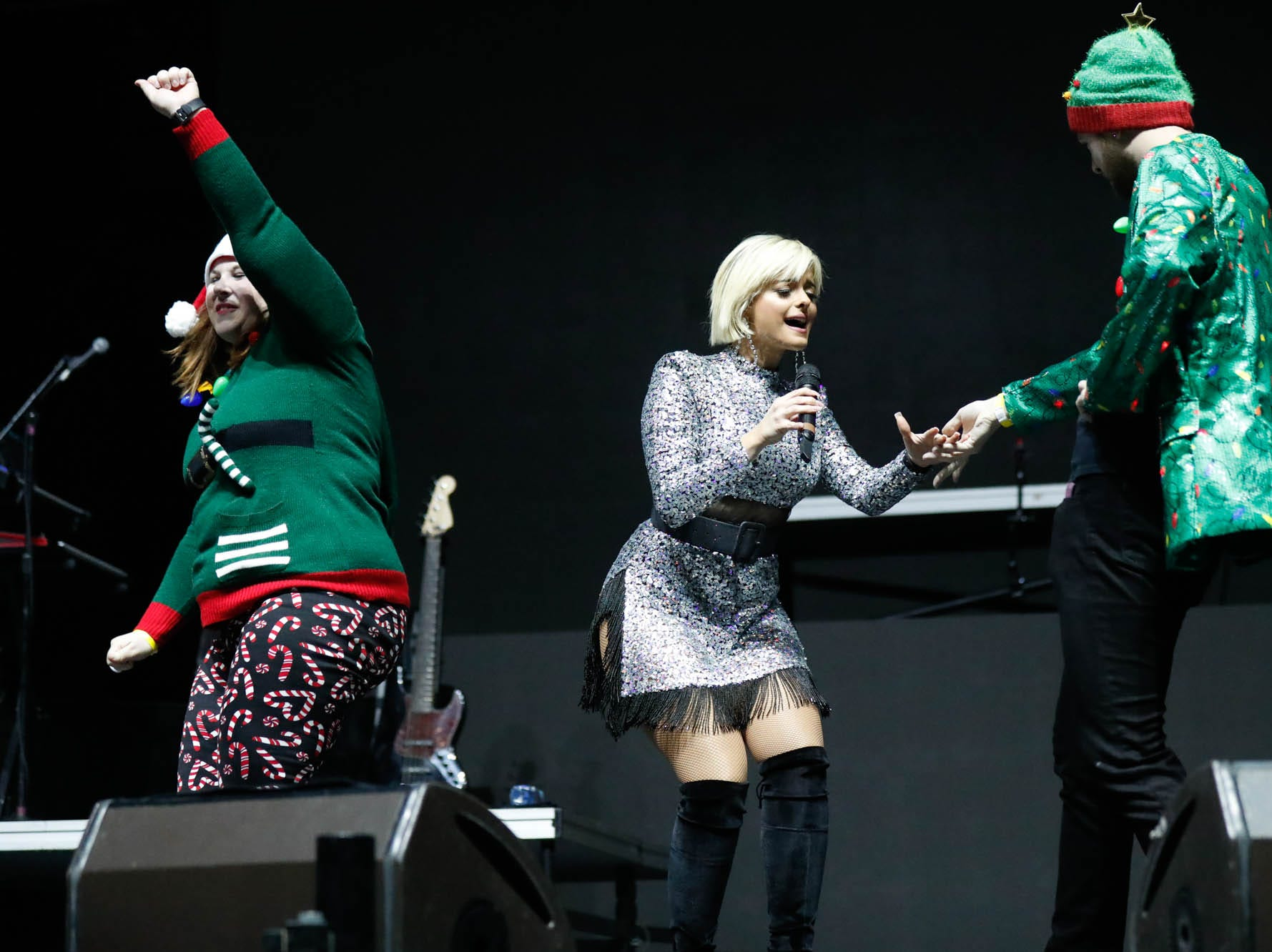 Fans were invited onstage for a dance off with Bebe Rexha during the 2018 Jingle Jam concert at Bankers Life Fieldhouse in Indianapolis on Tuesday, Dec. 12, 2018.