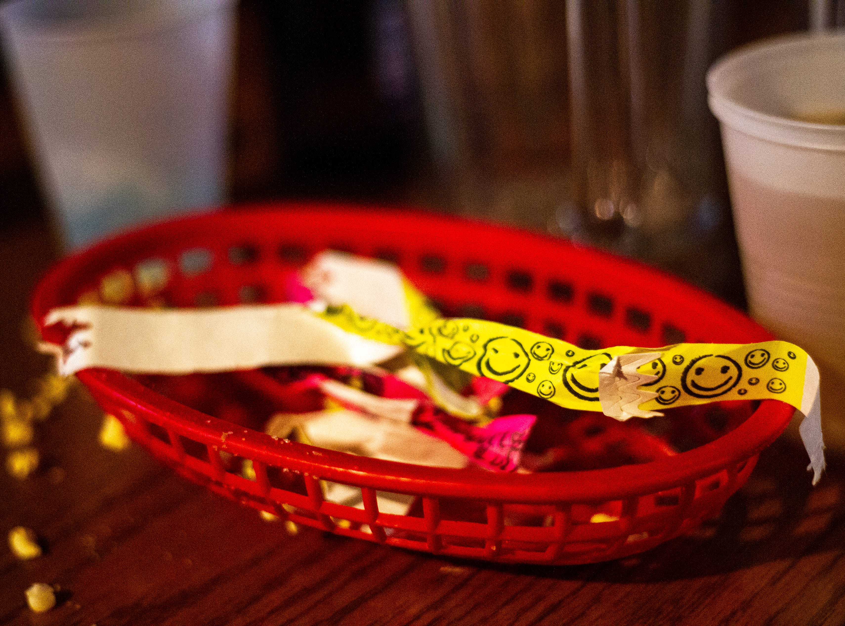 Bar bracelets sit in a basket on Thursday morning, Nov. 1, 2018, at  in Iowa City.
