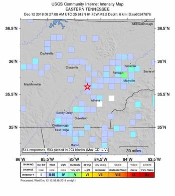 A 4.4 magnitude earthquake jolted East Tennessee Wednesday morning, according to the U.S. Geological Survey. This map shows the intensity of the second earthquake at 4:27 a.m. on Wednesday, Dec. 12, 2018.