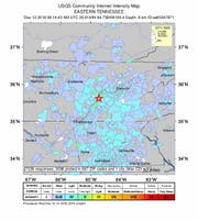 A 4.4 magnitude earthquake jolted East Tennessee Wednesday morning, according to the U.S. Geological Survey. This map shows the intensity of the first earthquake at 4:14 a.m. on Wednesday, Dec. 12, 2018.