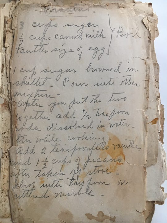 "Alice Mabry Hazen wrote this recipe for pralines inside her copy of ""The Tennessee and Virginia Cookbook."""