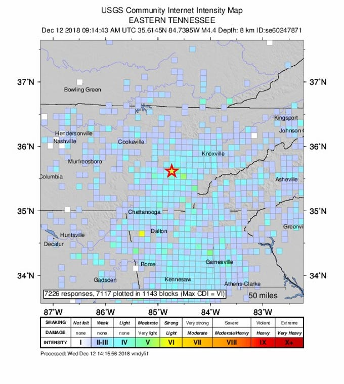 Map Of Us Tennessee.Photos 4 4 Magnitude Earthquake Jolts East Tennessee