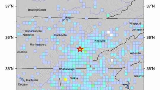 A screenshot of a USGS map showing the reach of a 4.4 magnitude earthquake rattling Tennessee and Georgia.