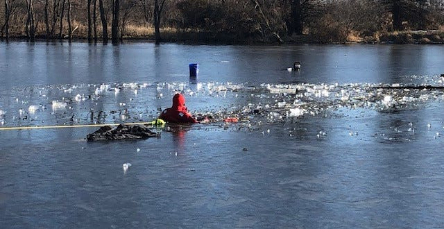 "A Tippecanoe County sheriff's deputy rescued a fisherman from this icy pond Wednesday afternoon. The man, who is believed to be in his 60s, fell through the ice about 2:50 p.m.. He was under the water for about 25 minutes, according to sheriff's Lt. John ""Woody"" Ricks. The man was rushed to IU Health Arnett. His condition is not yet  known."