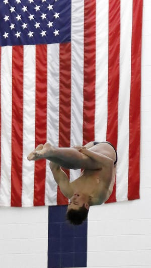 Brighton's Cade Hammond was second in diving at the state Division 1 meet last season.