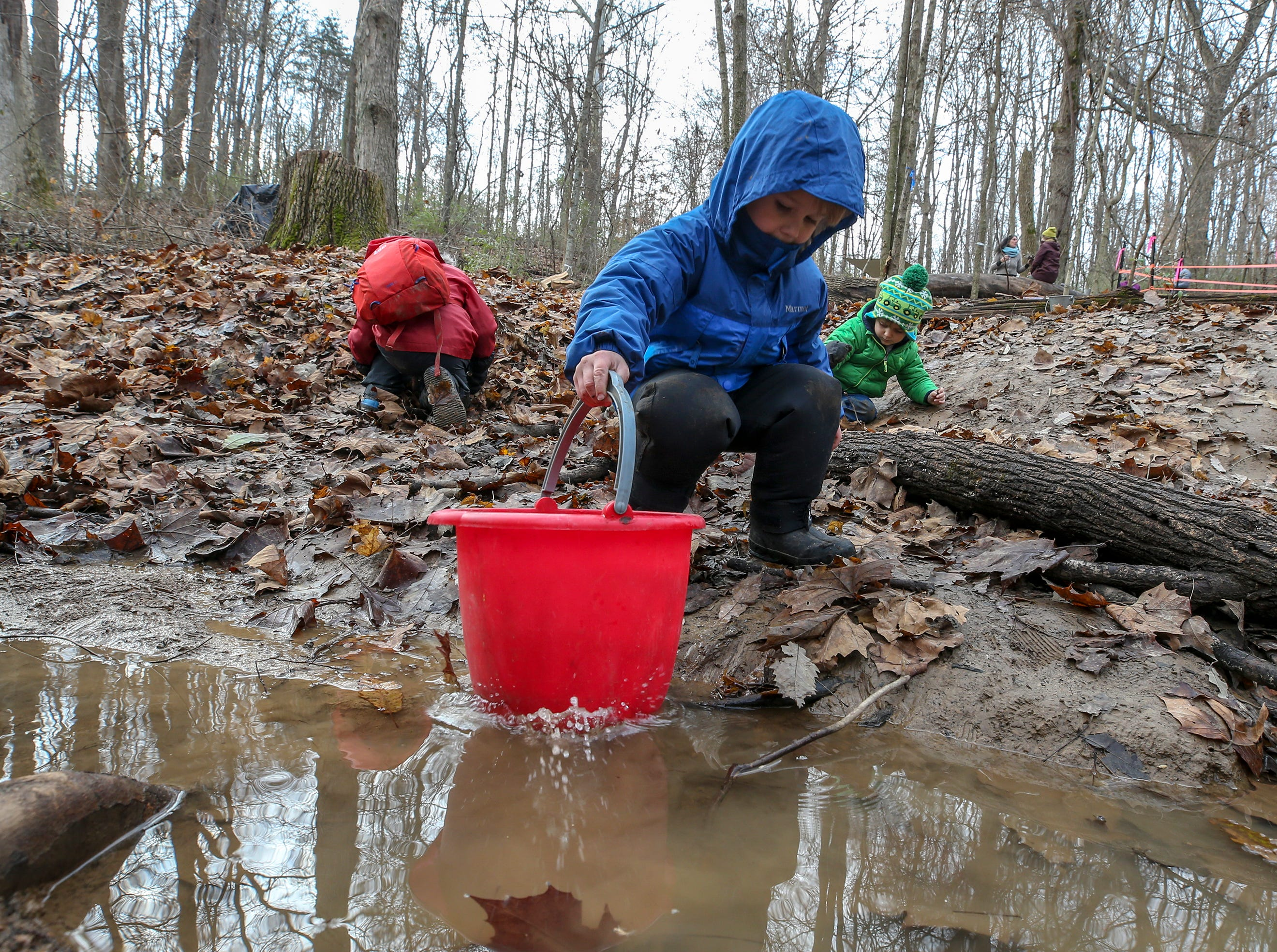 Students at Thrive Forest School meet outside at Creasey Mahan Nature Preserve for most of the day no matter the weather.November 19, 2018