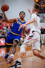 Cam Wilson (1) drives to the basket during the Valley-PRP game.