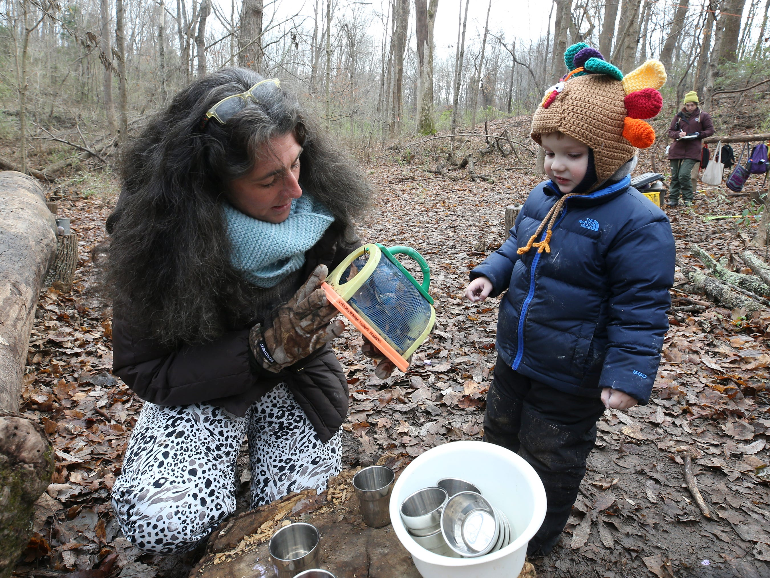 Thrive Forest School instructor Donna Wright works with Lincoln Oaks at Creasey Mahan Nature Preserve.November 19, 2018