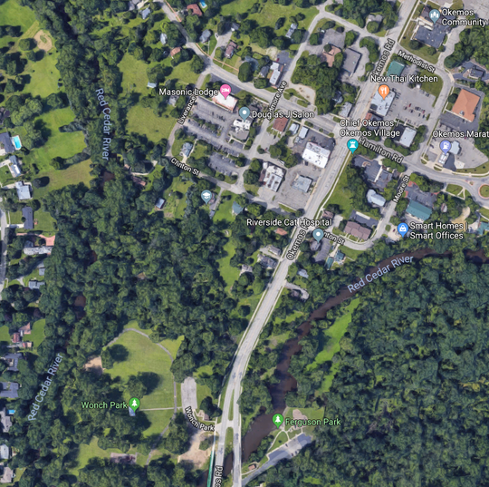 A satellite overview of the three-block portion of the Downtown Development Authority Tax Increment Financing District where a developer wants to invest $150 million. Project costs will include about $6.7 million for environmental cleanup.