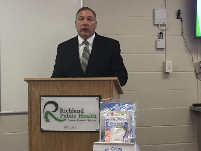 Martin Tremmel, health commissioner for Richland Public Health, talks about a health initiative aimed at providing a safe-sleeping environment for infants.