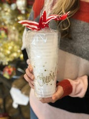 Cheers! Cups from Natalie Chang make a fun stocking stuffer for someone who likes to entertain. They are available at Pickering Boxwood in East Memphis.