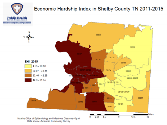A Memphis Breast Cancer Consortium report shows the economic hardship index by ZIP code in Shelby County correlates with breast cancer mortality rates in those ZIP codes.