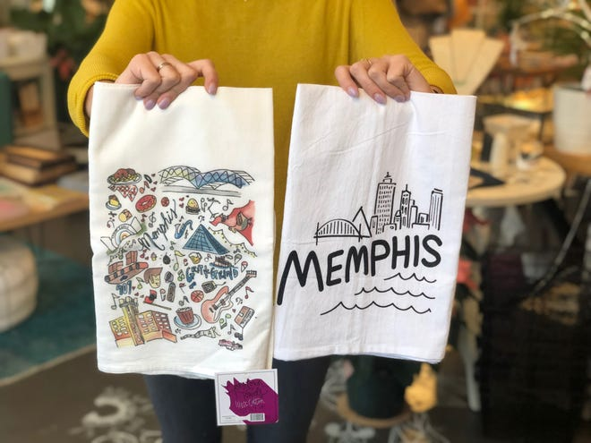 Memphis-themed kitchen towels are available at Falling Into Place.