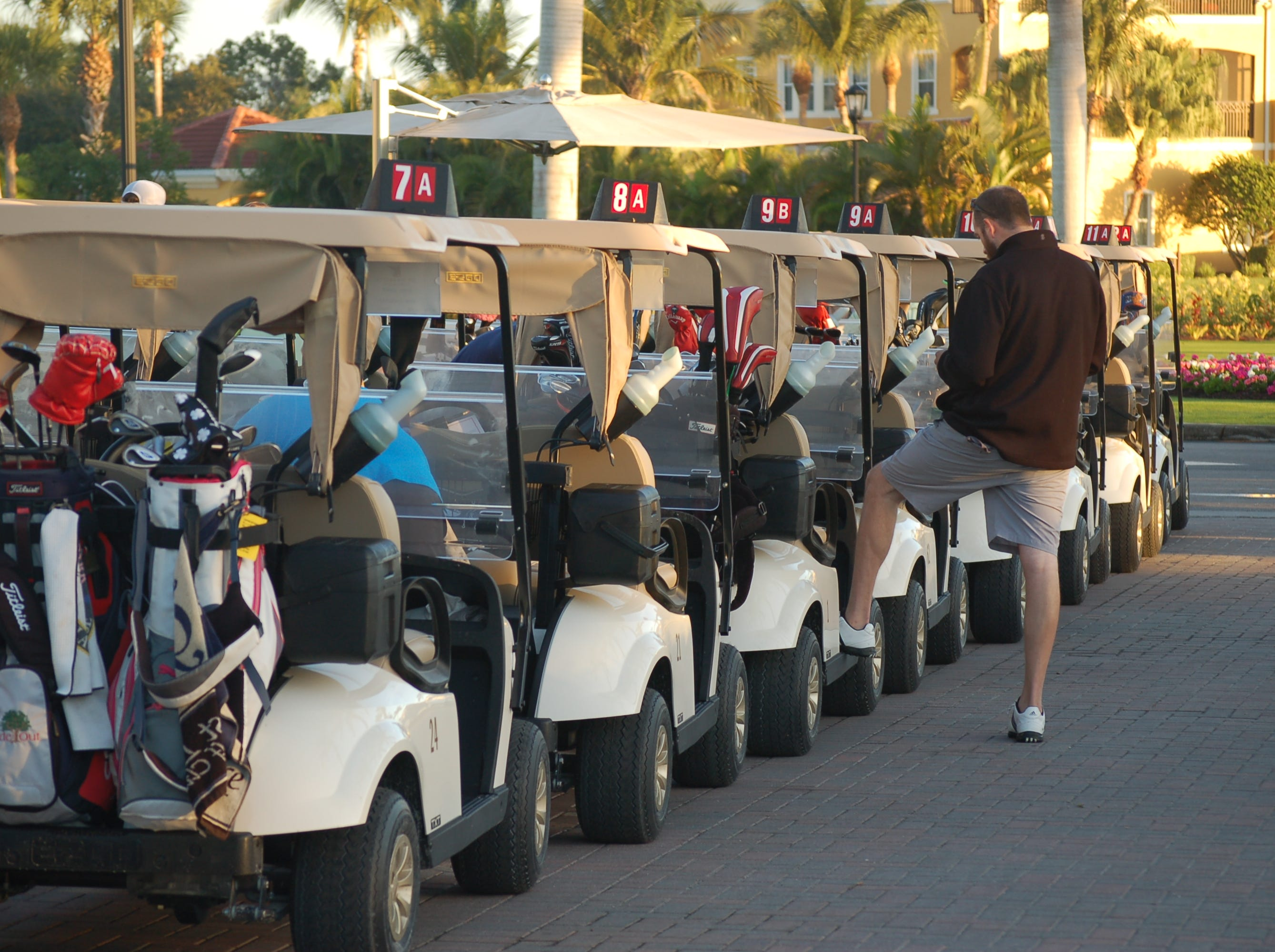 Carts are lined up for the start, which was chilly before warming up during the morning.