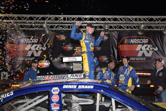 Derek Kraus celebrates his victory in the NASCAR K&N Pro Series West Bakersfield 175 in March at Kern County Raceway Park. He survived contact with Kevin Harvick on a late restart to win.