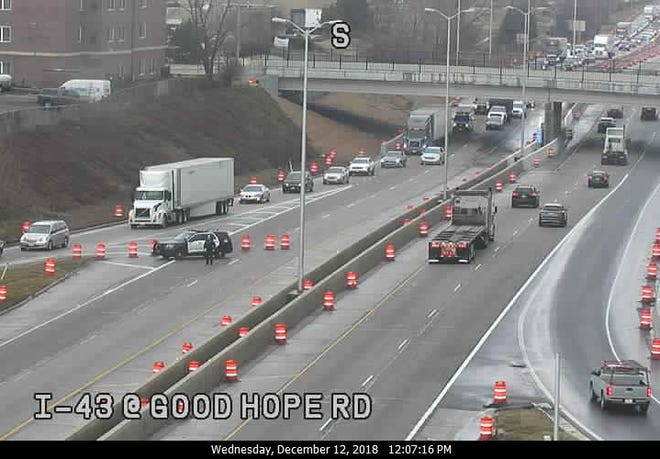 The I-43 northbound lanes at Good Hope Road were closed after a crash before noon Wednesday.