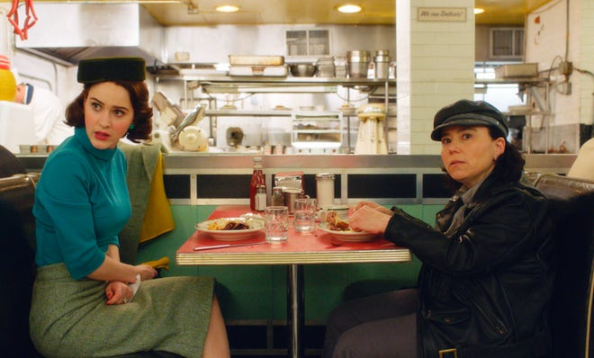"""Rachel Brosnahan (left) and Alex Borstein, shown in a scene from """"The Marvelous Mrs. Maisel,"""" were both nominated for Screen Actors Guild Awards for best female actor in a comedy series Wednesday. The Amazon series also was nominated for best ensemble cast in a comedy series."""