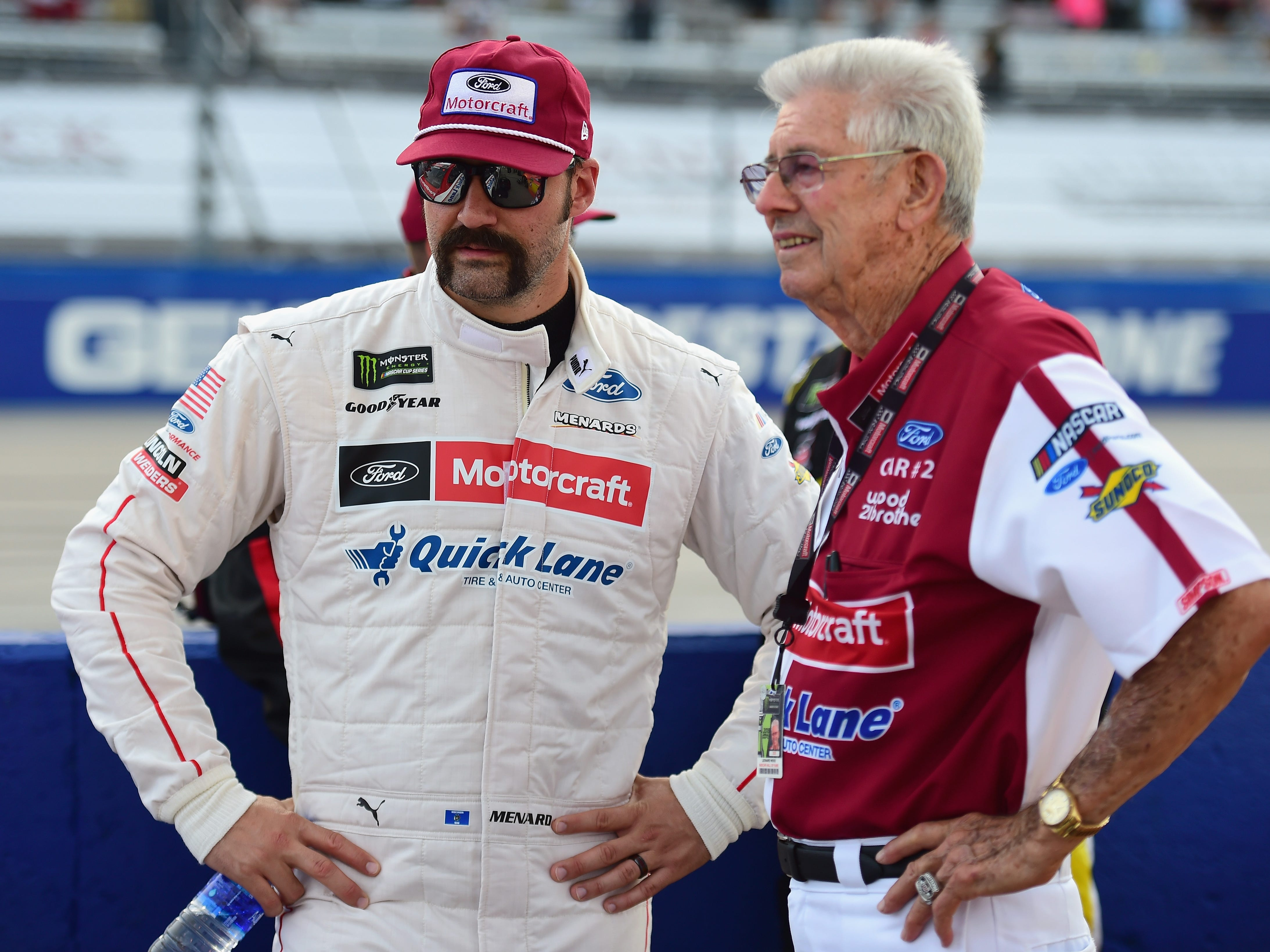 DARLINGTON, SC - SEPTEMBER 02:  Paul Menard, driver of the #21 Motorcraft/Quick Lane Tire & Auto Center Ford, and NASCAR Hall of Famer and team owner Leonard Wood speak on the grid prior to the Monster Energy NASCAR Cup Series Bojangles' Southern 500 at Darlington Raceway on September 2, 2018 in Darlington, South Carolina.  (Photo by Jared C. Tilton/Getty Images)