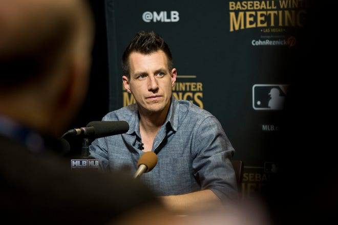 Dec 11, 2018; Las Vegas, NV, USA; Milwaukee Brewers manager Craig Counsell talks to the media during the MLB Winter Meetings at the Mandalay Bay Convention Center. Mandatory Credit: Daniel Clark-USA TODAY Sports