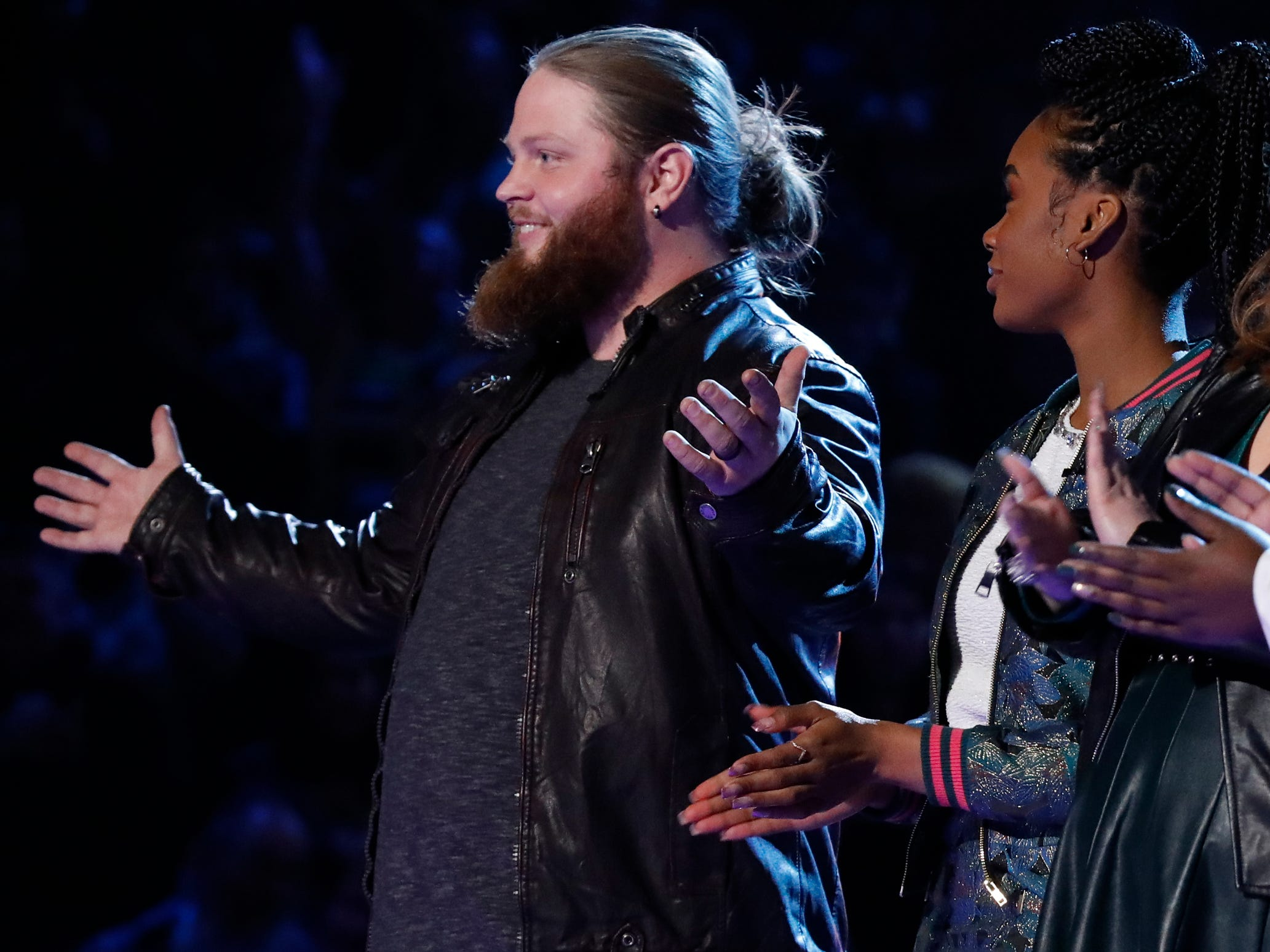 "Chris Kroeze reacts after learning he made it to the finals on ""The Voice"" on the Dec. 11 episode."