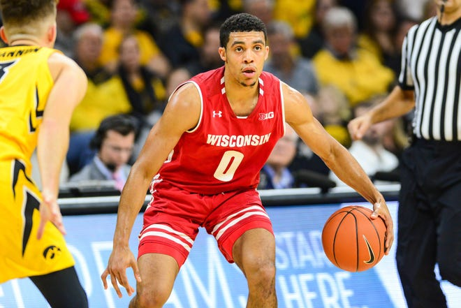 Badgers guard D'Mitrik Trice is second on the team in scoring this season at 16.3 points per game.
