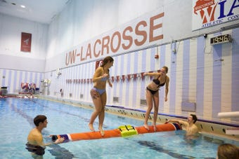 Logrolling is how students at UW-La Crosse relieve stress during finals week.