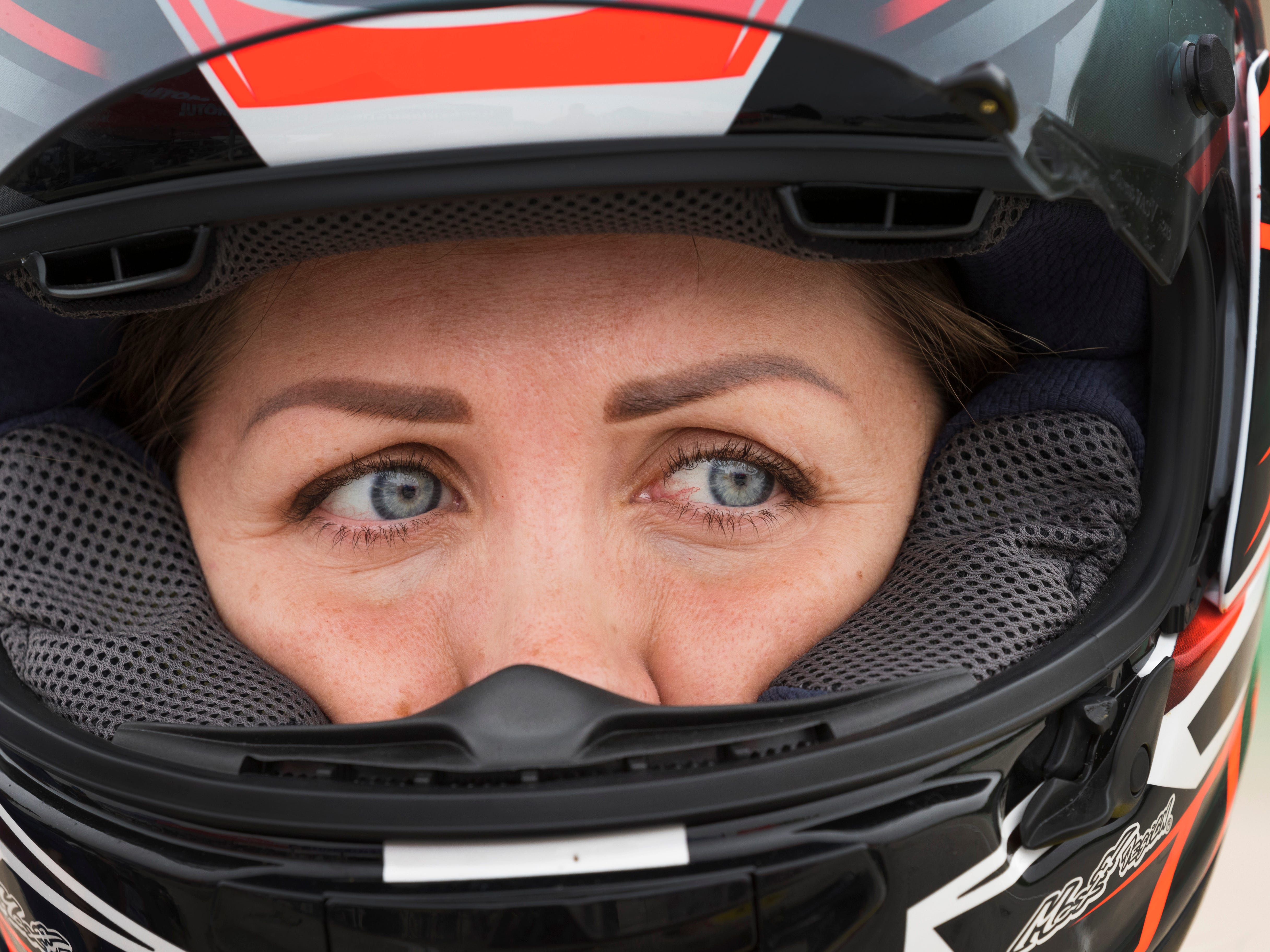 MotoAmerica Superstock 600 racer Caroline Olsen is shown before qualifying Saturday, June 2, 2018 at Road America in Elkhart Lake, Wis. The Norewgian racers is starting her comeback after being seriously inured in a crash at New Jersey Motorsports Park in Sept. 2017. 