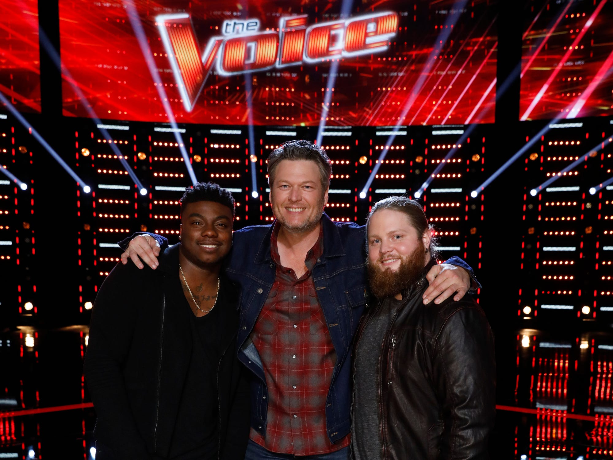 "Kroeze poses with his coach Blake Shelton and fellow ""Team Shelton"" contestant Kirk Jay after the Dec. 11 episode of ""The Voice,"" when both Jay and Kroeze learned they would be competing in the finals."