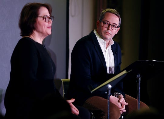 """Rev. Janet Broderick and her brother, actor Matthew Broderick during a reading of Truman Capote's short story """"A Christmas Memory""""  for an audience in the parish house at St. Peter's Episcopal Church on South Street, Morristown.  January 5, 2018. Morristown, NJ."""
