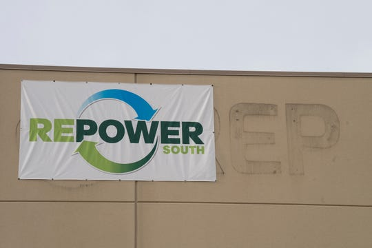 The temporary RePower sign hangs partially covering the old IREP sign at the newly renovated RePower South recycling plant in Montgomery, Ala., on Wednesday, Dec. 12, 2018.