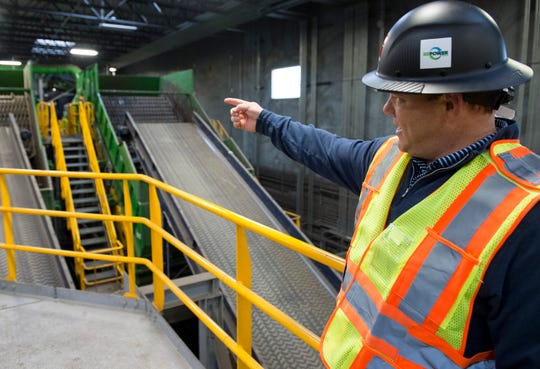 President Scott Montgomery gives a tour of the newly renovated RePower South recycling plant in Montgomery, Ala., on Wednesday, Dec. 12, 2018.