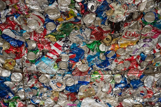 A palette of compacted cans at the newly renovated RePower South recycling plant in Montgomery, Ala., on Wednesday, Dec. 12, 2018.