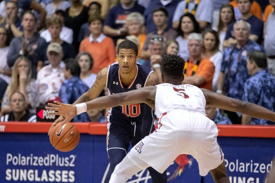 Auburn guard Samir Doughty dribbles during a game against Arizona at the Maui Invitational on Nov. 21, 2018.