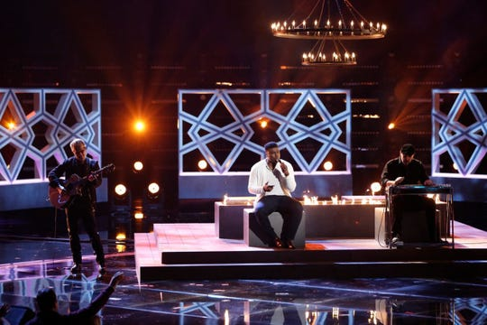 """Montgomery resident Kirk Jay performs """"I Swear"""" in the semifinal round of NBC's """"The Voice"""" on Monday, Dec. 10, 2018."""