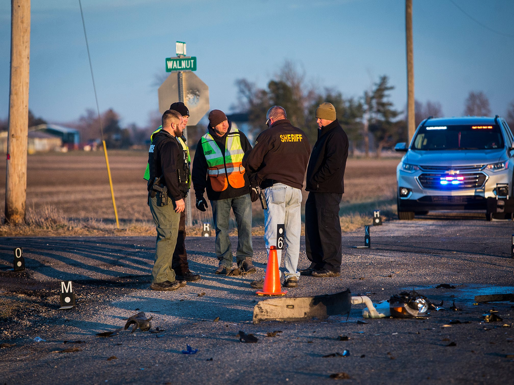 Jackson E. Pryor, 53, was killed in a two-vehicle accident at the intersection of Walnut Street and Delaware County Road 1000-N. According to officers at the scene, the Buick SUV driven by Pryor ran a stop sign at the intersection and struck a southbound van. A woman and two children in the van were transported to the hospital with non-life threatening injuries. The incident is still under investigation.