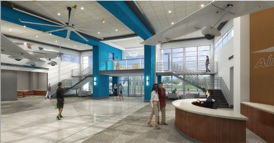 The lobby of the new Murfreesboro Airport terminal may include mounted aircraft.