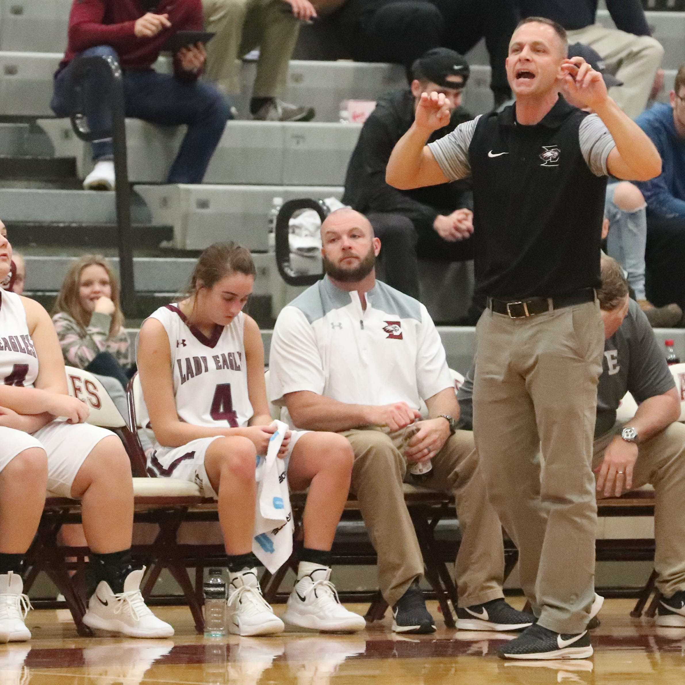 Eagleville's head coach Chris Lynch on the sidelines during the game against Community at Eagleville on Tuesday, Dec. 11, 2018.