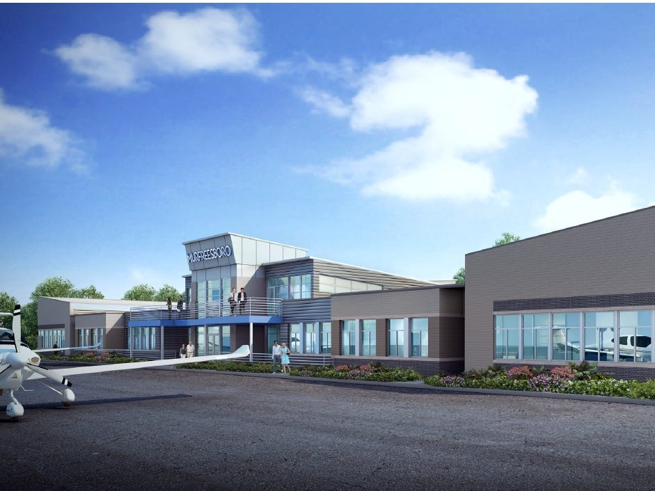 The airfield at the Murfreesboro Airport will be viewed from a mezzanine or at the ground level once the development of a new terminal is completed.