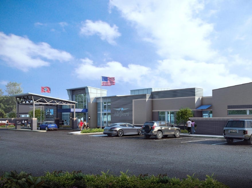 This architectural rendering shows what the entrance of Murfreesboro Airport's new $4.5 million terminal building will look like.