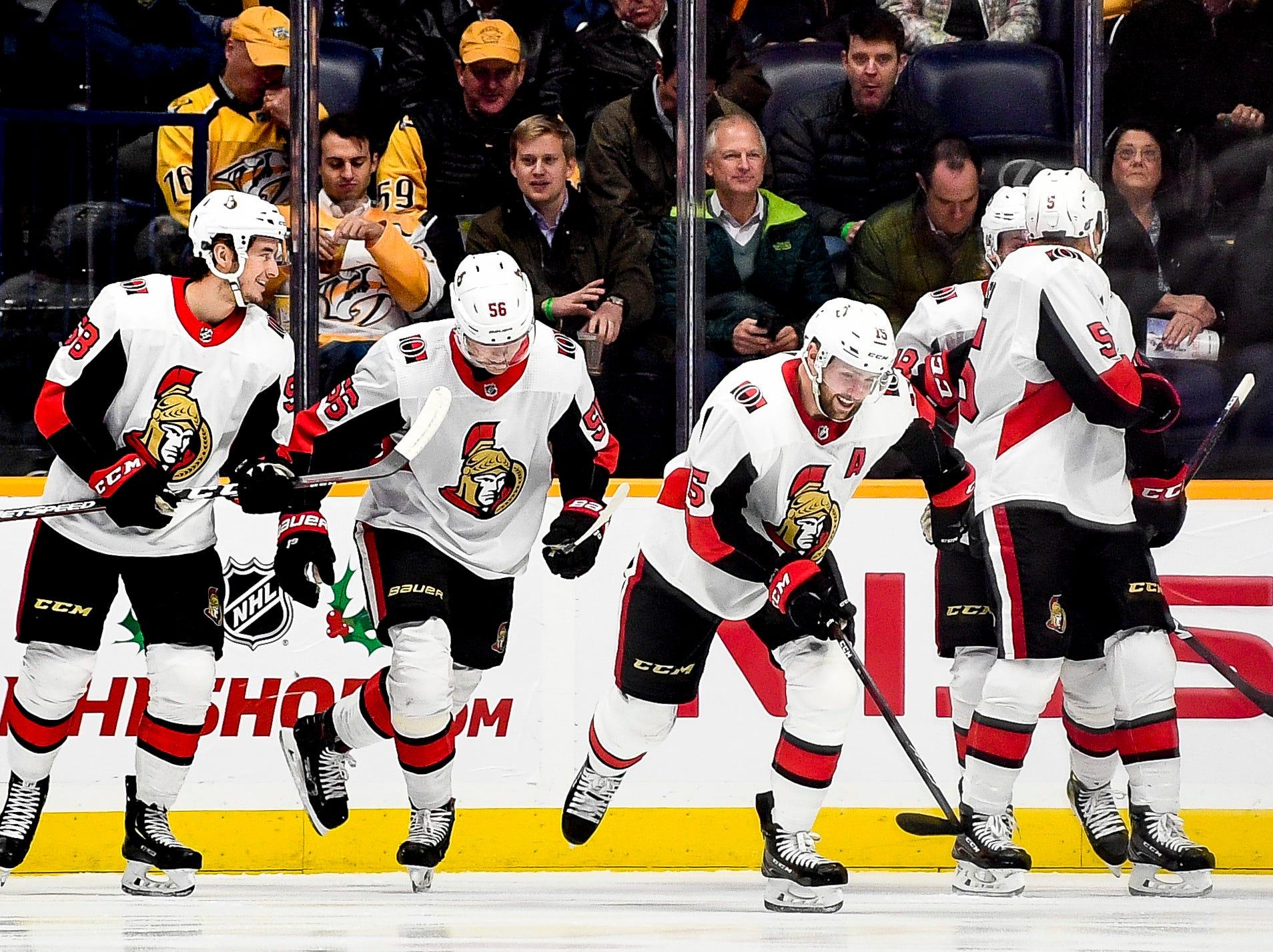 Ottawa Senators left wing Zack Smith (15) smiles after scoring against the Nashville Predators during the first period at Bridgestone Arena in Nashville, Tenn., Tuesday, Dec. 11, 2018.