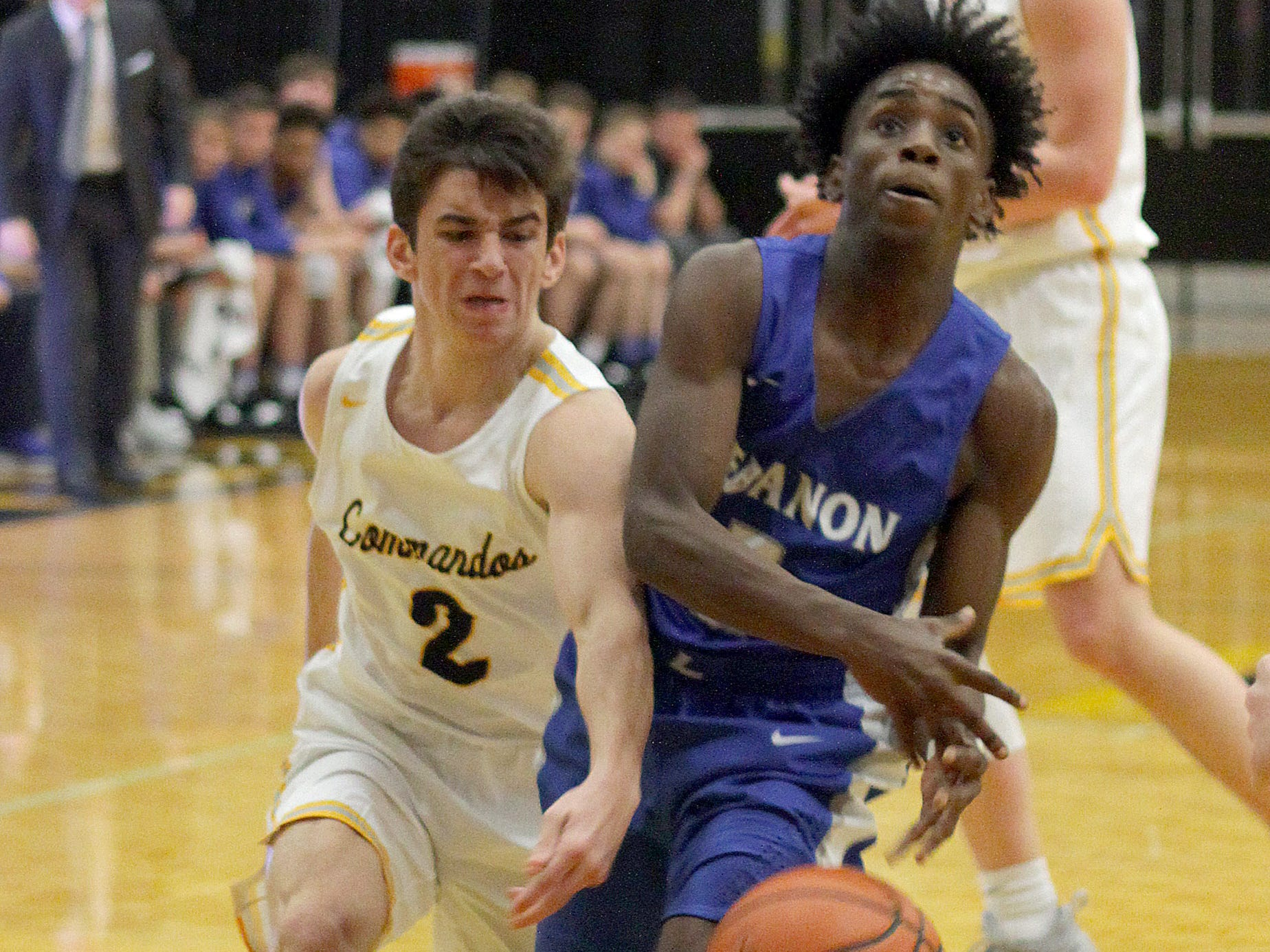 L-R Hendersonville's Grant Long swats the ball away from Lebanon's Malcolm Logue on Tuesday, December 11, 2018.