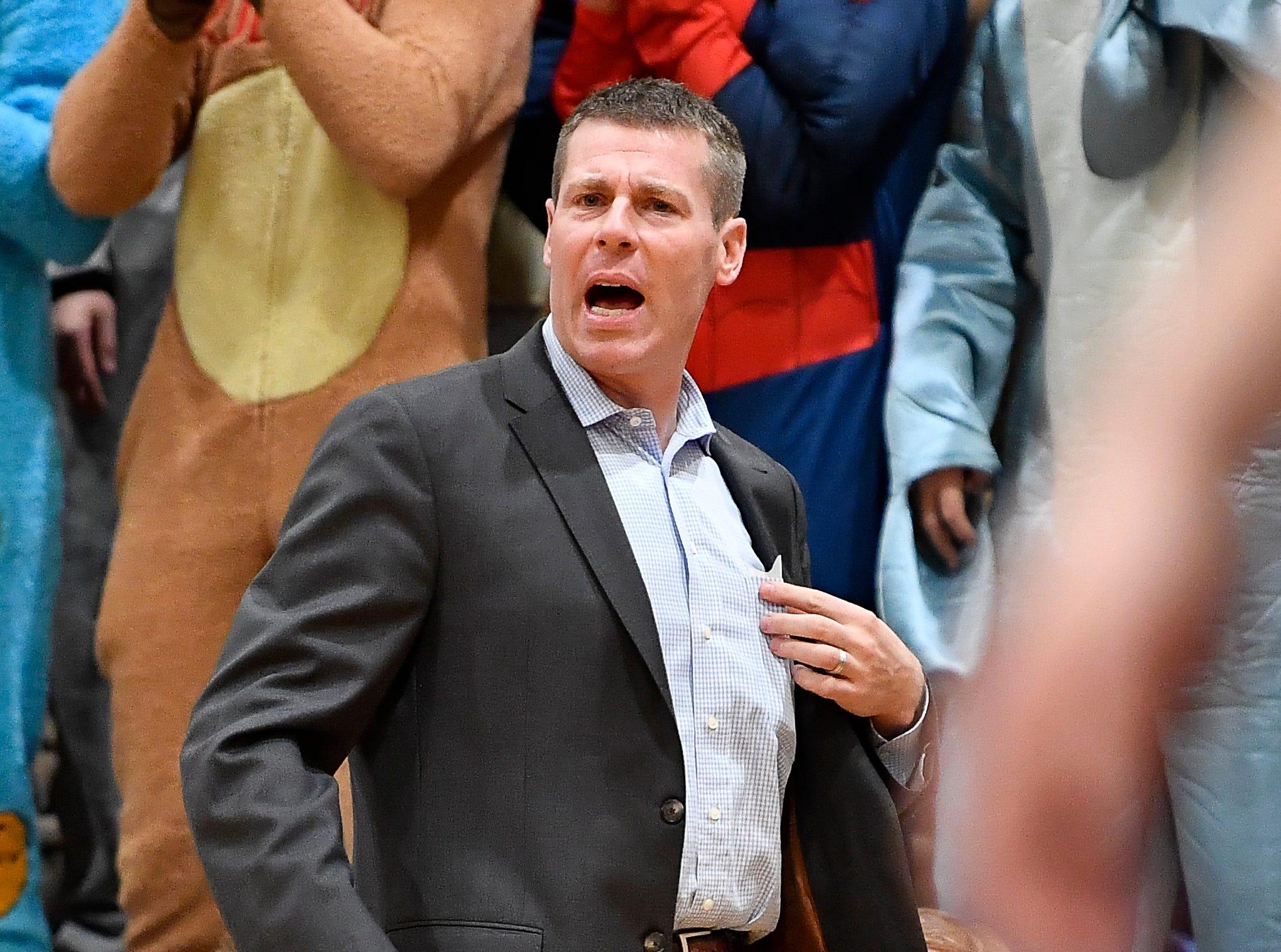 CPA head coach Drew Maddux yells at his team during their game at Ensworth High School Tuesday, Dec. 11, 2018, in Nashville, Tenn.