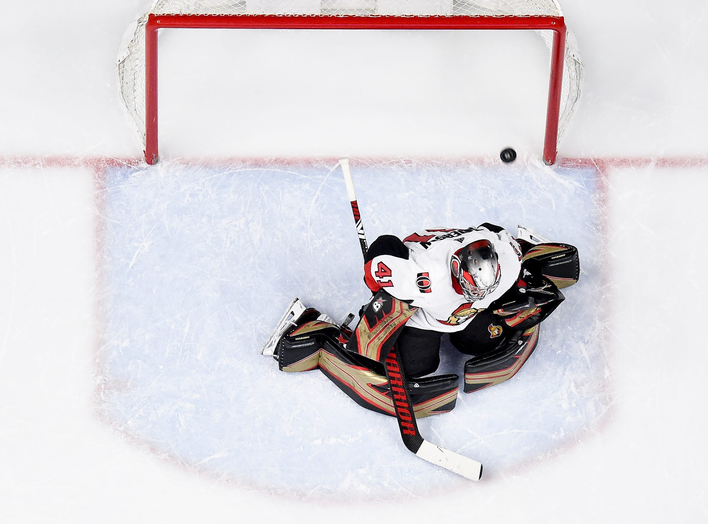 Nashville Predators defenseman Ryan Ellis scores a goal past Ottawa Senators goaltender Craig Anderson (41) during the second period at Bridgestone Arena in Nashville, Tenn., Tuesday, Dec. 11, 2018.