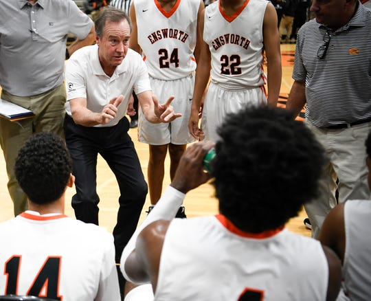 Ensworth head coach Ricky Bowers gives instructions to his players during their game against CPA at Ensworth High School Tuesday, Dec. 11, 2018, in Nashville, Tenn.