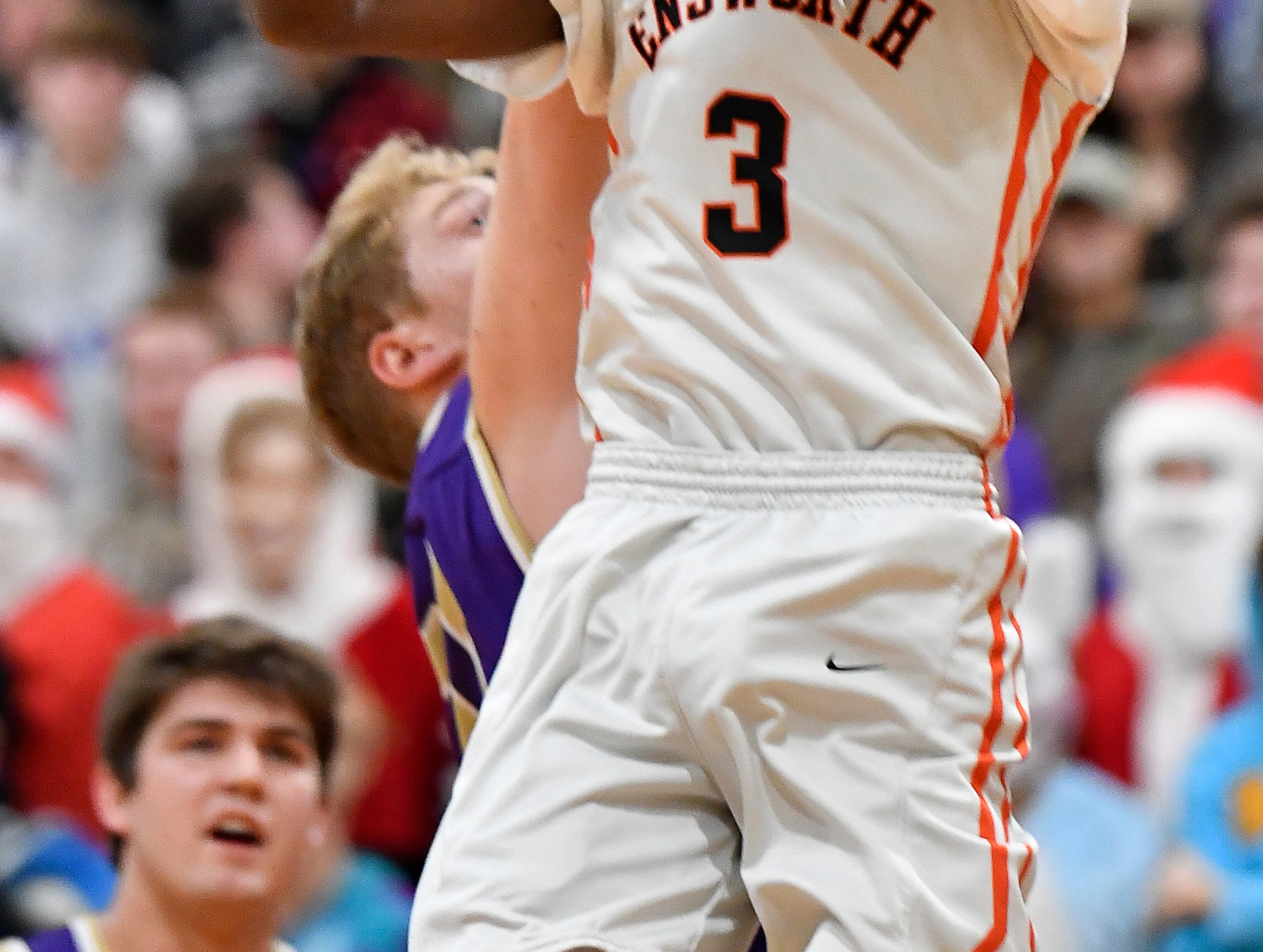Ensworth guard Key Collier (3) shoots past a CPA defender during their game at Ensworth High School Tuesday, Dec. 11, 2018, in Nashville, Tenn.