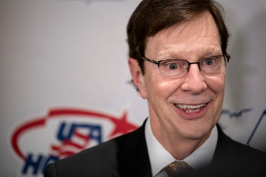 Nashville Predators general manager David Poile speaks about being inducted into the United States Hockey Hall of Fame during media availability at the JW Marriott in Nashville, Tenn., Wednesday, Dec. 12, 2018.